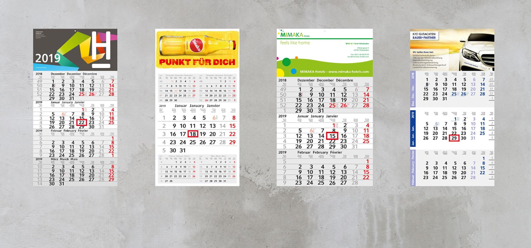 Kalender 2019 bedrucken als Werbeartikel